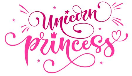 Unicorn princess hand drawn moderm isolated calligraphy text with splashes, heart, stars decor. Rainbow sparkle, gold foil texture. Cards, prints, poster, t-shirt design. 向量圖像