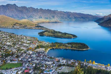 wakatipu: Queenstown with lake Wakatipu Stock Photo