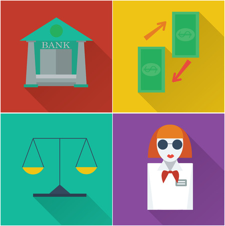 deposit slips: set of four financial icons in a flat design