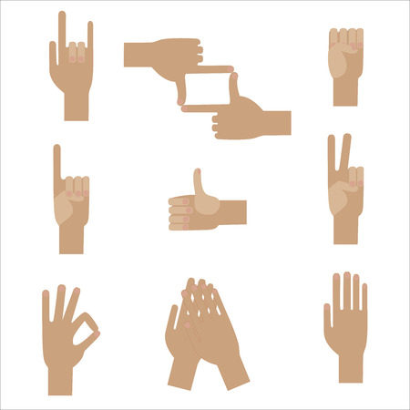 adulation: set of nine popular human hand gestures
