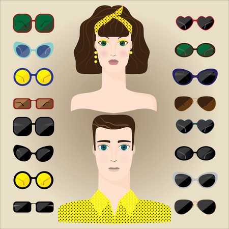 set of male and female points of different shapes Illustration