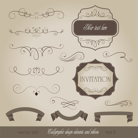 old fashioned menu: vector set: calligraphic design elements and page decorations and ribbons Illustration