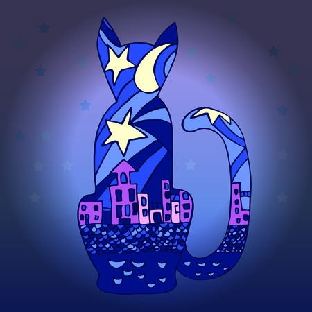nocturnal animal: Silhouette of a cat and the city nightlife. Beautiful silhouette Vector.