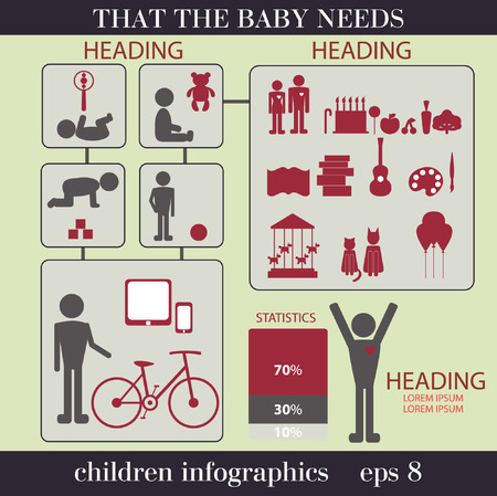 certain: Children infographics. Toys for children of different age.What should be the child of a certain age. The vector eps8 format Illustration