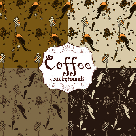 painterly effect: Collection of four seamless coffee patterns (brown coffee tone) Illustration