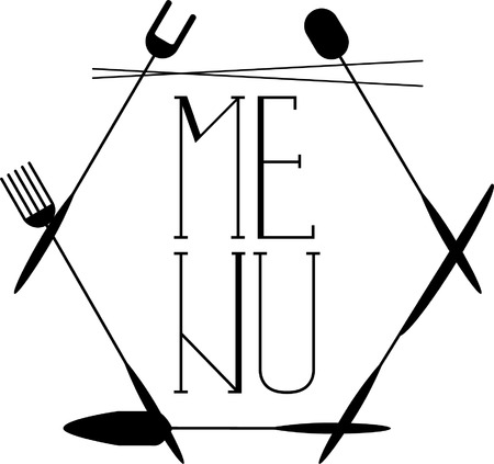 table of contents: black and white vector image of the  menu. The frame of the cutlery. For a table of contents menu of restaurants and cafes Illustration