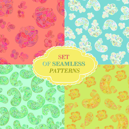 drawing on the fabric: set of four seamless patterns. Summer oriental theme. Ideal for design drawing fabric backgrounds.