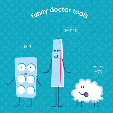 cotton wool: set of medical instruments pills, medicine, an enema, a thermometer, an aerosol, medical cotton wool, adhesive tape. The cartoon, funny illustrations for childrens hospitals.