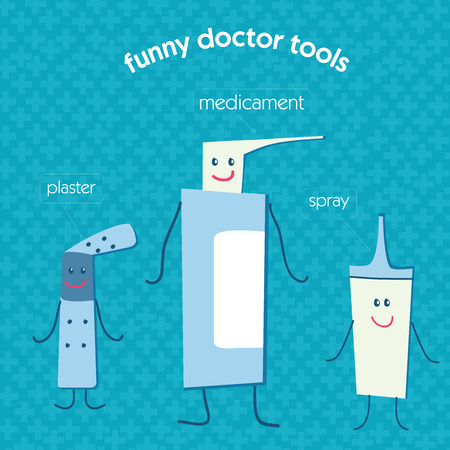 adhesive tape: set of medical instruments pills, medicine, an enema, a thermometer, an aerosol, medical cotton wool, adhesive tape. The cartoon, funny illustrations for childrens hospitals.