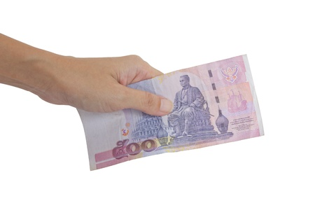 pay money: Thai Banknote 500 Baht In Hand