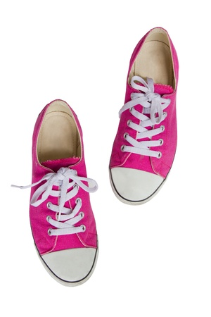 shoes off: Pink Sneakers Isolated On White Background