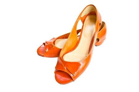 Woman Orange Leather Shoes  photo
