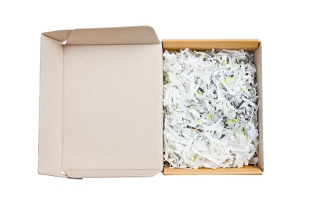 Open paper box heap with bumping papers inside isolated on white background photo
