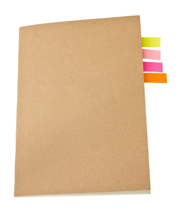 Notebook blank cover colorful sticky notes inside  photo