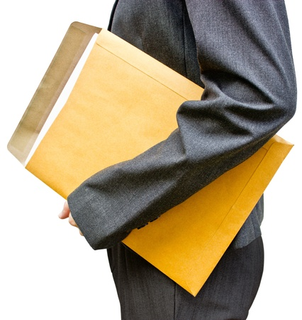 woman handle success: Business girl with brown envelope in hand  Stock Photo