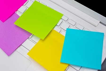 Colorful sticky notes post on white  laptop Stock Photo - 16395996