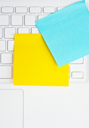 Colorful sticky notes post on white  laptop Stock Photo - 16395723