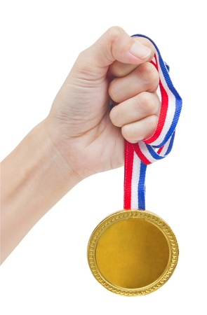 Golden medal in woman Stock Photo - 16395418