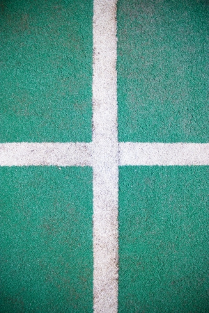 Fake grass and white line as background  Stock Photo - 16396436