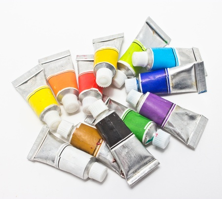 Pile of water color tubes  Stock Photo - 16396532