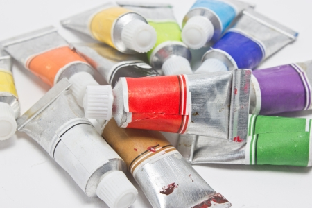 Pile of water color tubes Stock Photo - 16396559