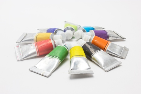 Row of water color tubes Stock Photo - 16396530