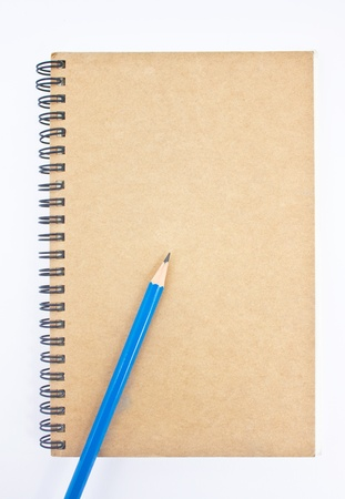 Blue pencil on brown notebook photo
