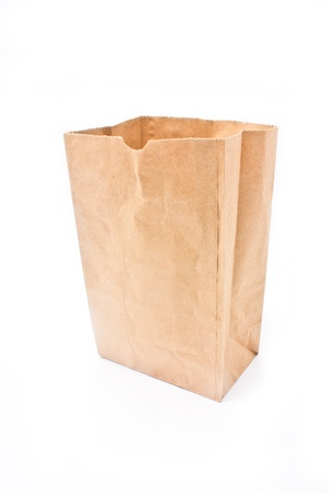 Recycle paper bag isolated on white background. photo