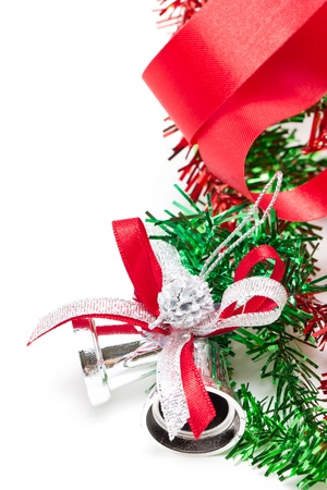 Silver Christmas bells decorating with red ribbon  Stock Photo - 16428803