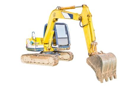 back hoe: A huge shovel digging on ground isolated on white background. Stock Photo