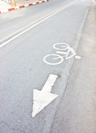 White bicycle road sign. photo