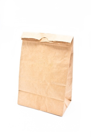 Recycle paper bag isolated on white background  photo