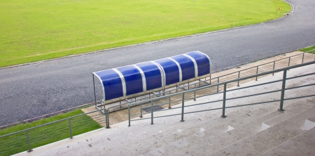 Coach and resrve benches in football stadium. Stock Photo - 17201140
