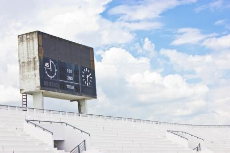 scoreboard: Old scoreboard and bleacher  Stock Photo