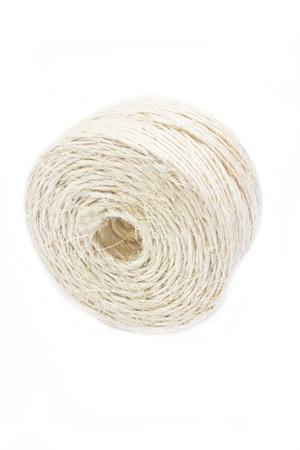 Hank of white rope isolated on white background  Stock Photo - 17350212