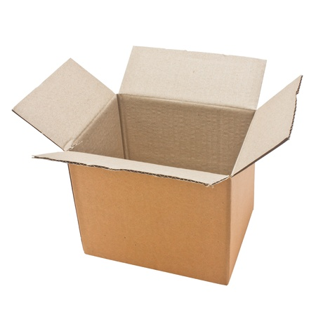 Open cardboard box isolated on white background  photo