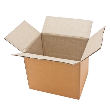 Open cardboard box isolated on white background Stock Photo - 17350210