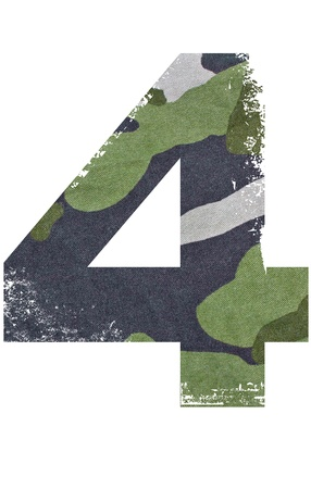 four texture: 4, number from military fabric texture on white background