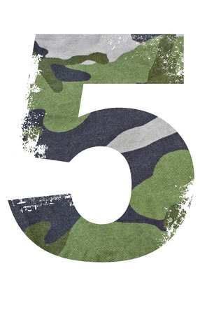 military background: 5, number from military fabric texture on white background