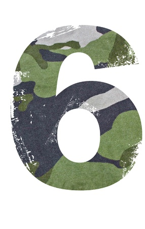 military background: 6, number from military fabric texture on white background