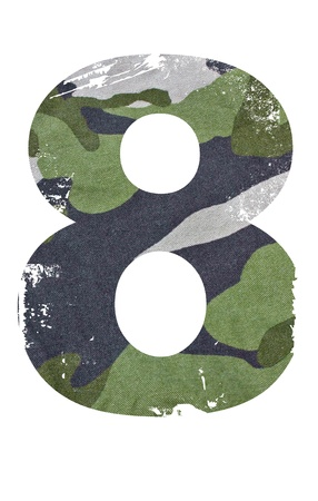 military background: 8, number from military fabric texture on white background