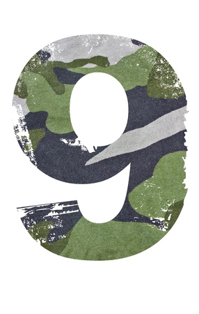 military background: 9, number from military fabric texture on white background