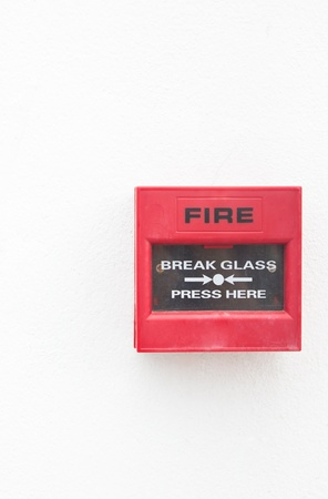 Fire alarm on white wall with copy space Stock Photo - 17892490