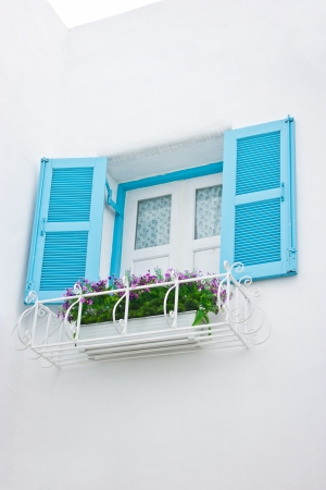 Open window with flowers ornament  photo