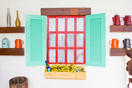 folkways: Colorful window with decorating stuffs