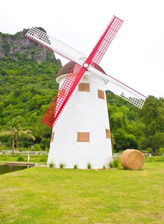 rice mill: Windmill, hay roll, green field and canal  view in farm