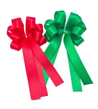 Red and green ribbons isolated on white background  photo