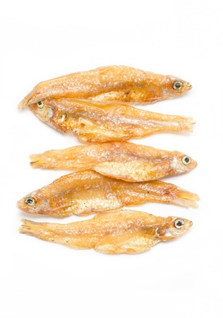 Small fried fish isolated on white background. photo