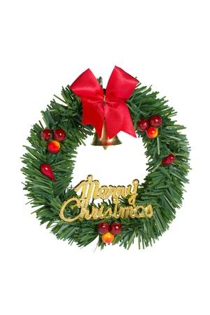 door leaf: Green christmas wreath red ribbon