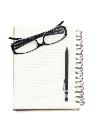 Eye glasses with mechanical pencil and binder notebook isolated on white background